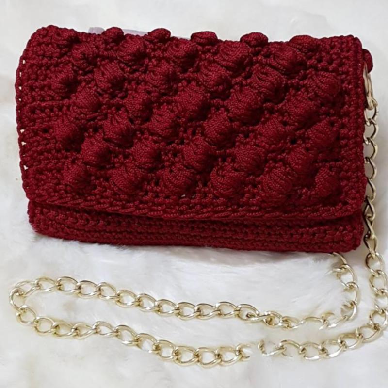Τσάντες  Χειροποίητη πλεκτή τσάντα ώμου Μπορντό 9fa8659f22e
