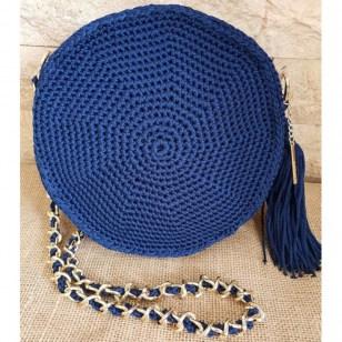 3b3bcd405d7 Χειροποίητη μπλε πλεκτή τσάντα ώμου