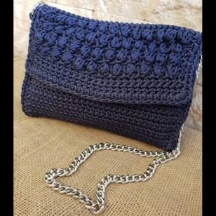5221fb6c009 Χειροποίητη μπλε navy πλεκτή τσάντα ώμου